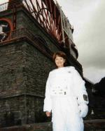 Space Island One - Judy Loe in her Spacesuit at the Laxey Wheel. Many thanks to Kevin Davies for allowing us to use this photo.