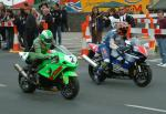 David Jefferies (on right) leaving Start Line, Douglas.
