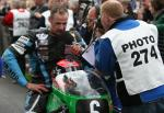 Ryan Farquhar in the winners enclosure at the TT Grandstand.