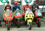 Carl Roberts (far right) on bike after coming 3rd in Newcomers B.