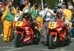 Keith Birkhead (number 91) at Start Line, Douglas.