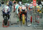 Ryan Farquhar's bike (number 6) at the TT Grandstand, Douglas.