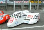 Roger Stockton/Peter Alton's sidecar at the TT Grandstand, Douglas.