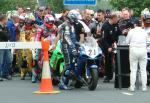 Martin Finnegan (number 21) awaiting start of practice session, Douglas.