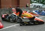 Tony Thirkell/Roy King's sidecar at the TT Grandstand, Douglas.