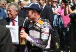 Ian Lougher in the winners' enclosure at the TT Grandstand.