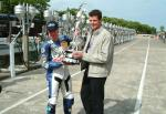 Adrian Archibald with Trophy at the TT Grandstand.