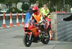 Noel Carroll during practice, leaving the Grandstand, Douglas.